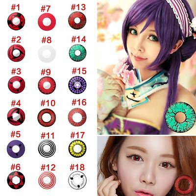 1X De Colores Lentes de Contacto Halloween Cosmético Maquillaje Cosplay-Un año ()