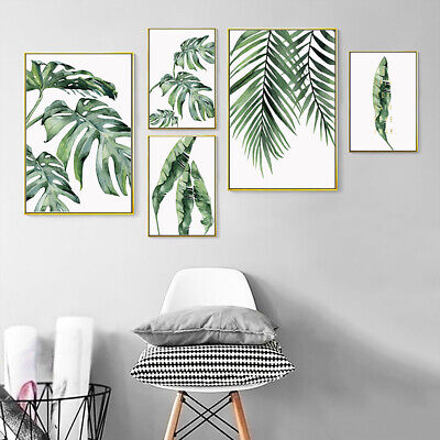 Modern Tropical Plant Leaves Canvas Painting Wall Living Room Home Decor Sightly