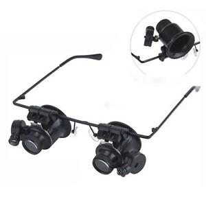 spectacle glasses eye loupe 20x LED Head magnifying glass Magnifier Handsfree QI