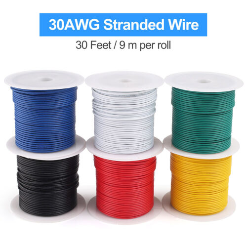 30AWG Gauge Stranded Electrical Wire Tinned Copper 6 Colors (30 Feet Each),UL