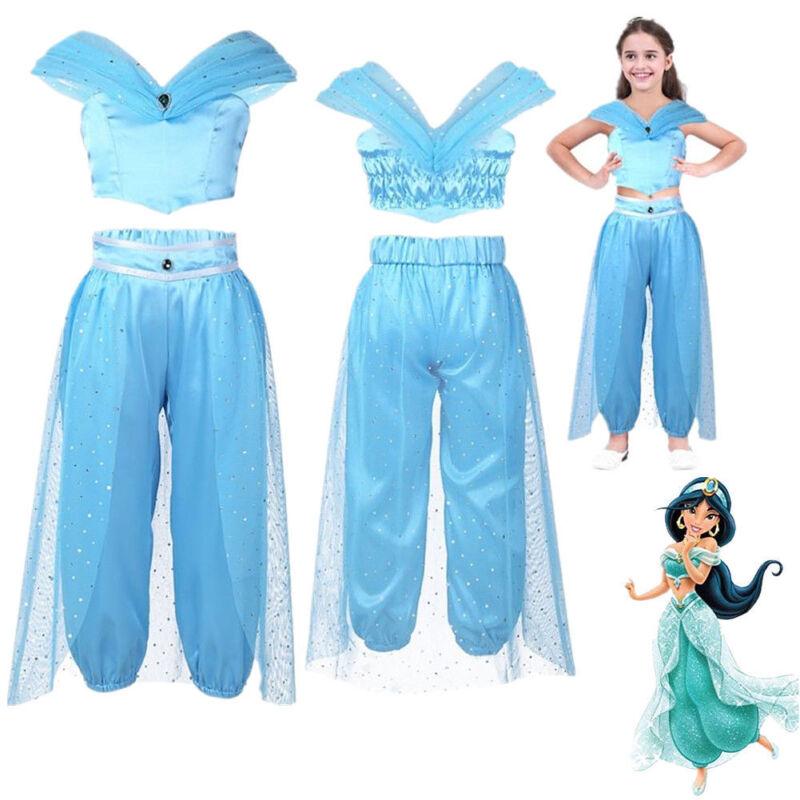 113e7187215b6 Kids Aladdin Costume Princess Jasmine Outfit Child Girl Sequin Party ...
