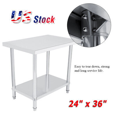 24 X 36 Work Table Food Prep Stainless Steel Commercial Kitchen Restaurant New