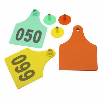 20 Pcs Cattle Ear Tags Livestock Cow Identification Cards No.1-100 Color Yellow