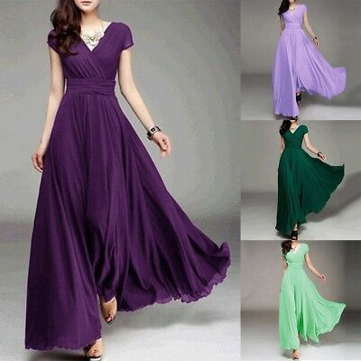 Women Long Formal Evening Prom Party Bridesmaid Chiffon Ball Gown Cocktail Dress Chiffon Prom Evening Gown