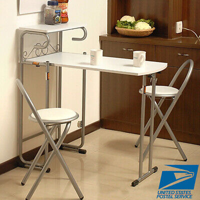 3 Piece Steel Folding Dining Set MDF Top Table 2 Chairs Bistro Kitchen Furniture Folding Table Chairs Set