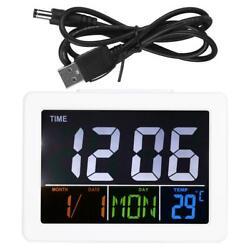 LCD Digital Alarm Clock Student Large Screen Time Temperature Display Home