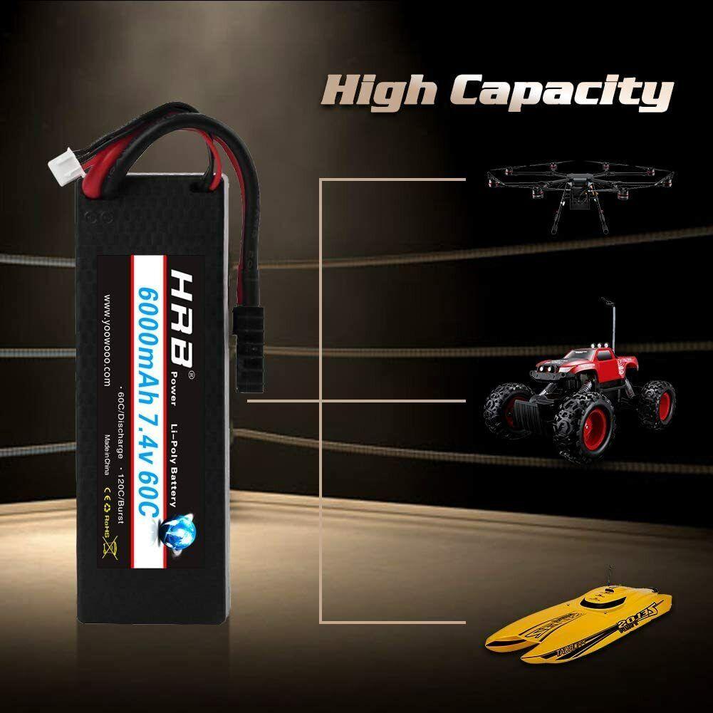 HRB RC Lipo Battery Rechargeable 2S 7.4V 6000mah T-Deans plu