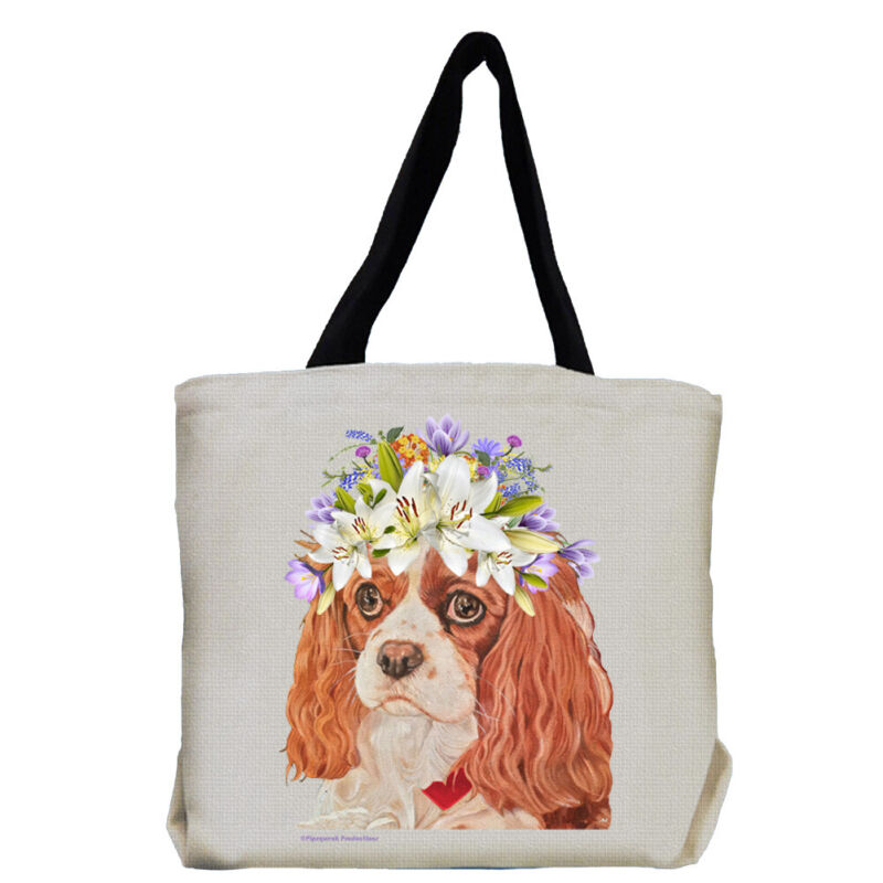Cavalier King Charles Dog with Flowers Tote Bag