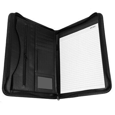 A4 Zipped Conference Folder Business Faux Leather Document Case Bag Portfolio &