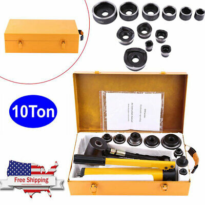 Manual Hydraulic Round Hole Punch Opener Kit Metalworking Hand Tools With 6 Dies
