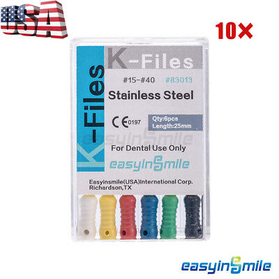 10x Dental Endo Root Canal K-files Stainless Steel Hand Use Assorted 25mm 15-40