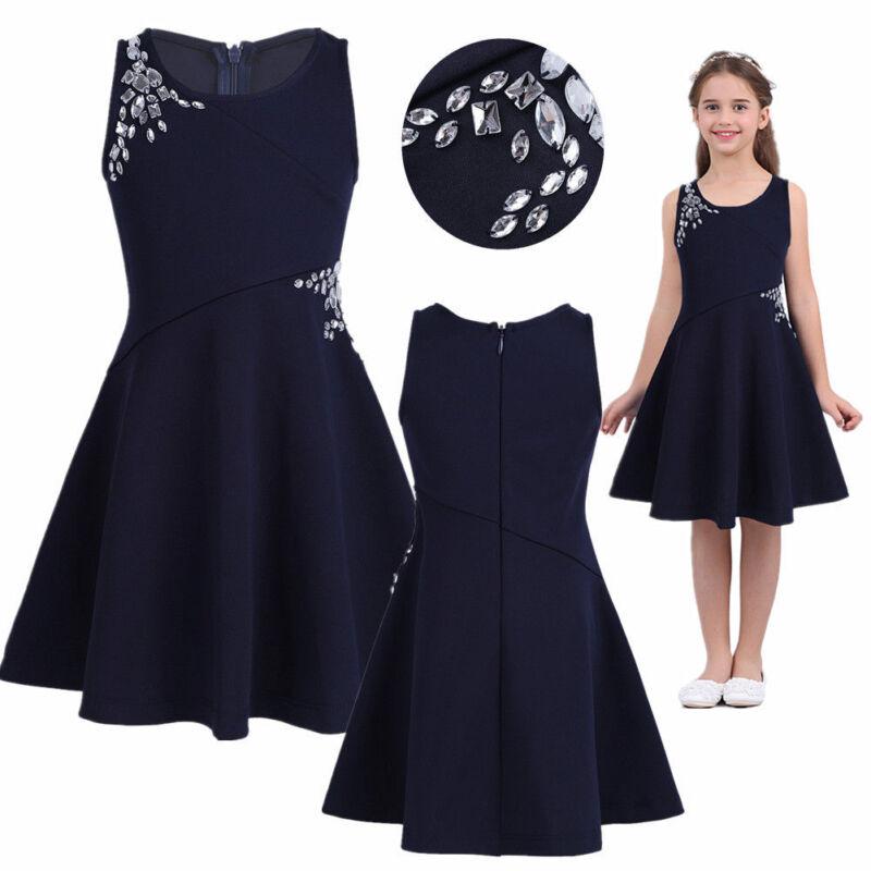 Kid Girls Summer Party Princess Dress Sleeveless Casual A Line Rhinestones Dress