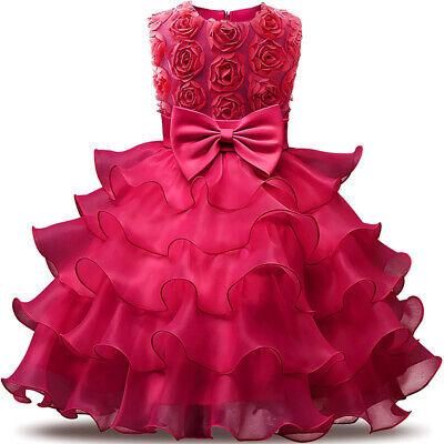 hen Kleid Rüschen Spitze Party Hochzeit Ballkleider für Kinder (Rüschen Blumenmädchen Kleid)
