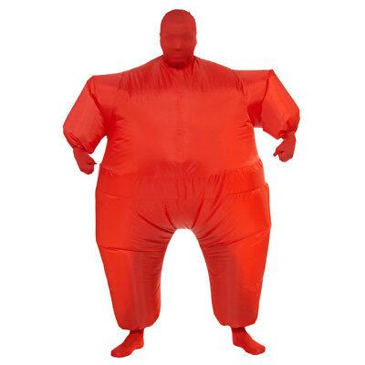 Red Fat Suit Inflatable Costume Blow Up Jumpsuit Jump Sports Fan Gag Adult (Red Fat Suit Kostüm)
