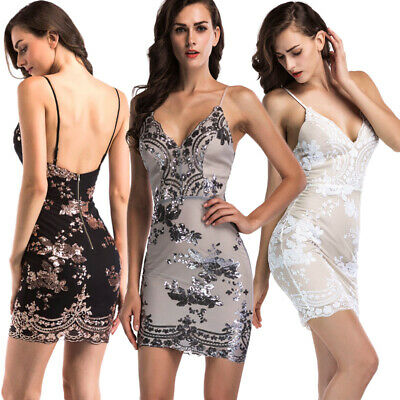Spaghetti Strap Clubwear Kleid (Women Sexy V-neck Spaghetti Strap Backless Evening Party Cocktail Dress Clubwear)
