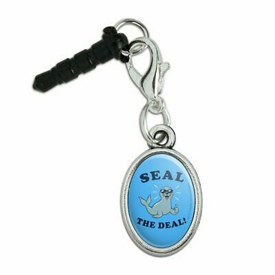 Seal The Deal Cool Funny Humor Mobile Phone Headphone Jack Oval Charm for sale  Shipping to India