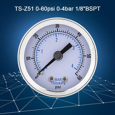 0-60psi 0-4bar 18bspt Pressure Gauge For Water Air Oil Dial Instrument Inm