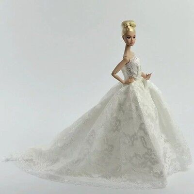 Handmade Wedding Party  Dress Princess Clothes with Veil For Barbie Doll