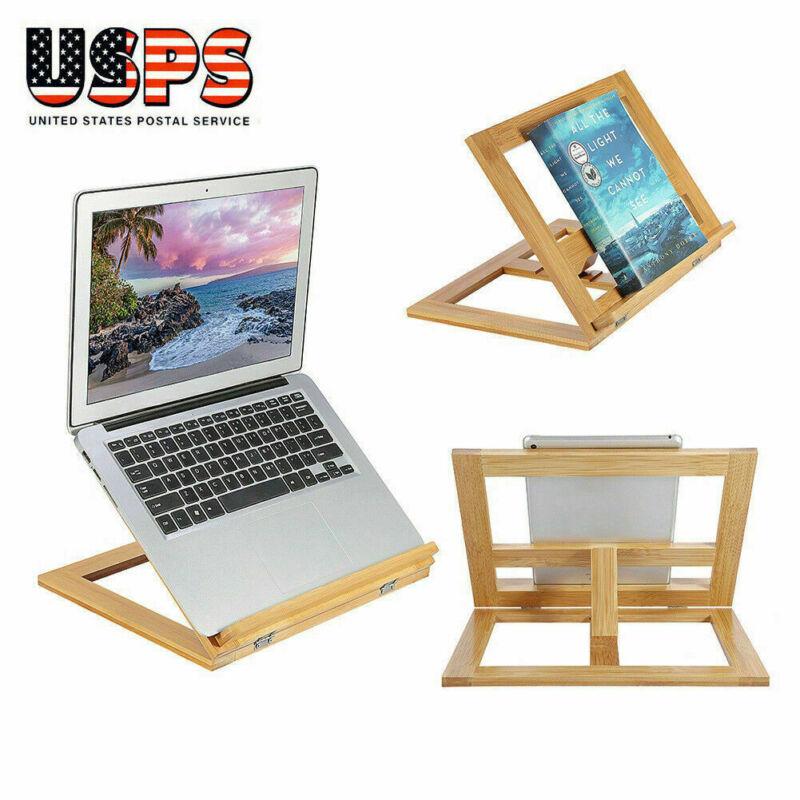 Foldable Wood Book/Pad/Tablet Stand Cookbook Holder Adjustable Reading Rack Desk
