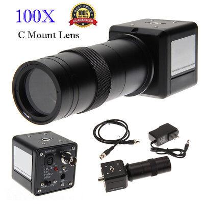 100x Digital Industrial Ccd Microscope Camera Bnc Av Tv Video Zoom C Mount Lens