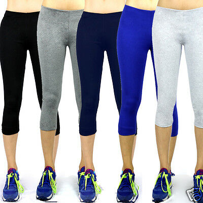 - USA Women Athletic Workout Fitness Training Yoga Waistband Tights Capri Pants