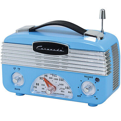 NEW Coronado Vintage Style Retro Blue AM/FM Portable Radio w/ Leatherette Handle