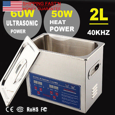 2l 50w Industry Labs Ultrasonic Ac110v Cleaner Tank Heater Timer New Usa