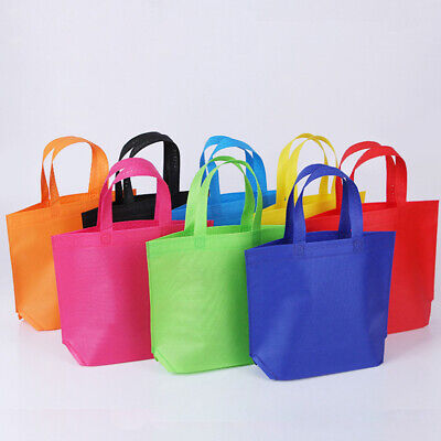 10pcs Large Shopping bags Non-woven fabrics Reusable Washable  Tote Bags 8 Color