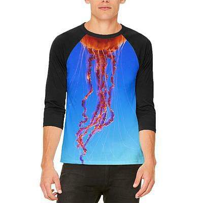 Halloween Orange Nettle Jellyfish Costume Mens Raglan T Shirt - Jellyfish Halloween Costume