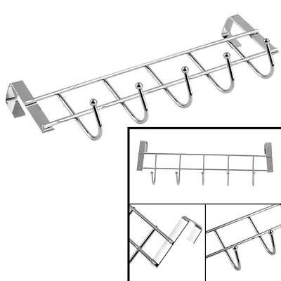 Towel Hanger Rack Stainless Steel Over-The-Door Kitchen Bathroom With 5 Hooks