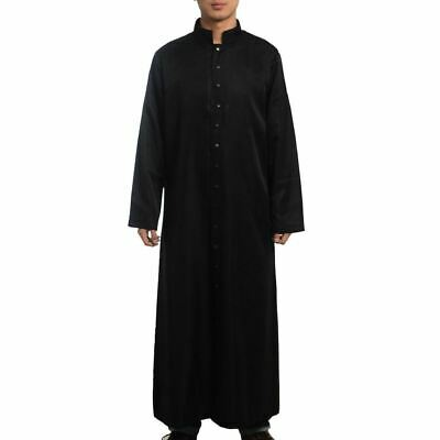 Roman Man Priest Cassock Robe Gown Single Breasted Button Clergyman Vestments
