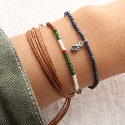 3pcs//Set Rope Boho Beach Surf Bracelets Beaded Pineapple Charm Handmade Bracelet