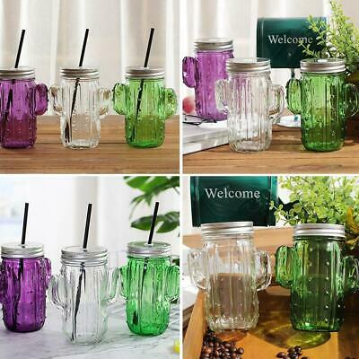 3D Cactus Glass Mason Jar Mug Creative With Lid And Straw Cold Drink Smoot