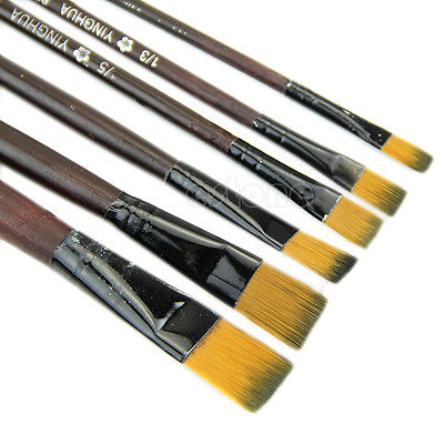 6pcs Brown Tip Nylon Paint Artist Brushes SET Flat Small/Large Thin/Thick Tool](Nylon Paint Brush)