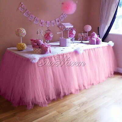TUTU Tulle Table Skirt Tableware Cover Baby Shower Wedding Birthday Party Decor - Pink Tutu Table Skirt