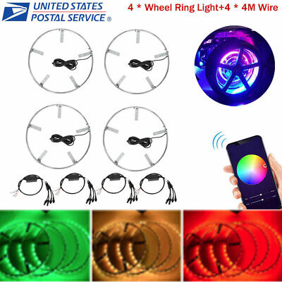 "4PCS 15.5"" RGB Color Change LED Wheel Rings Rim Light & 4PCS Wire Kit Waterproof"