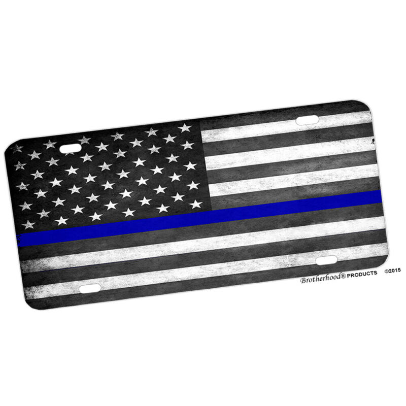 Law Enforcement Subdued Thin Blue Line American Flag Aluminum License Plate