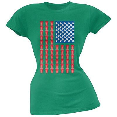 St. Patricks Day - American Flag Party Cups Kelly Green Soft Juniors T-Shirt
