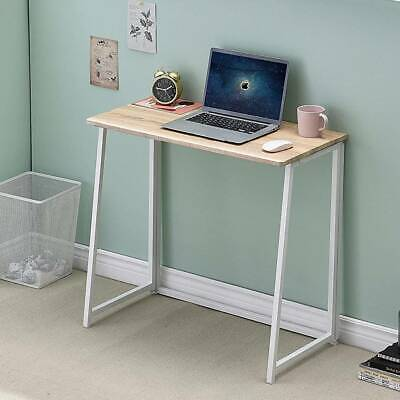 Folding Computer Home Office Desk Foldable Wood Metal Table PC Study Workstation