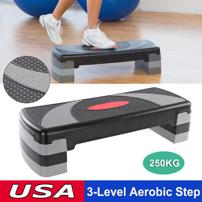 "Adjust 4"" - 6"" - 8"" Fitness Aerobic Step 31'' Cardio  Exercise Stepper w/ Risers"