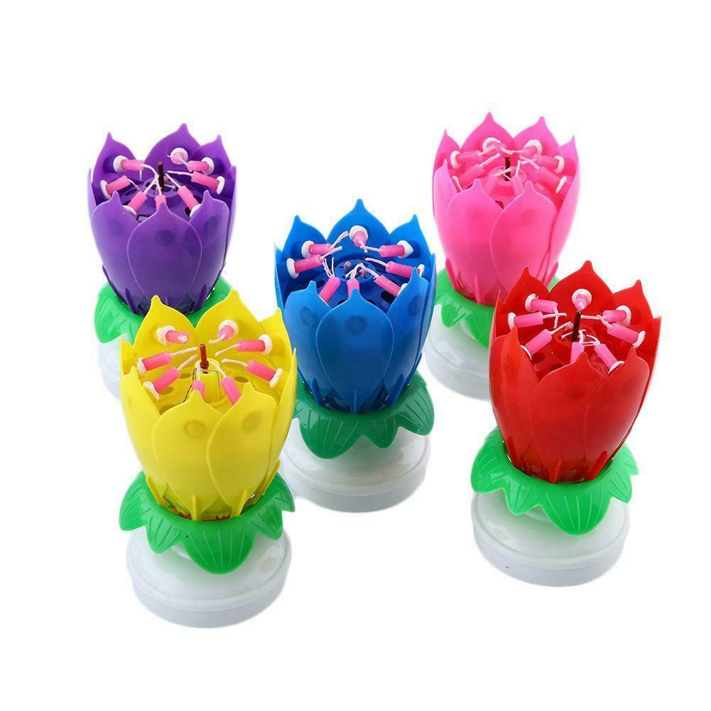 Magic Birthday Lotus Flower Candle Decor Blossom Musical Rot