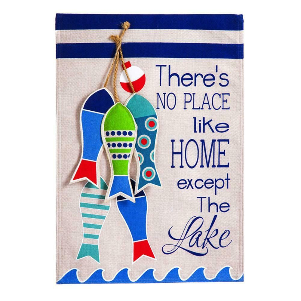 "No Place like the Lake  ""Burlap"" House Flag - New -  28""x44"""
