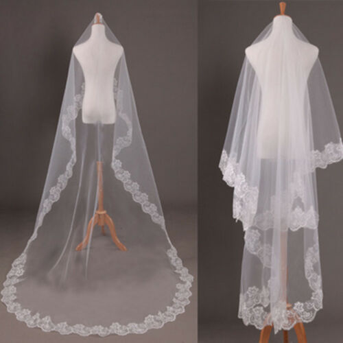 FantasyWhite/Off White Cathedral Length Lace Edge Bride Wedding Bridal Long Veil