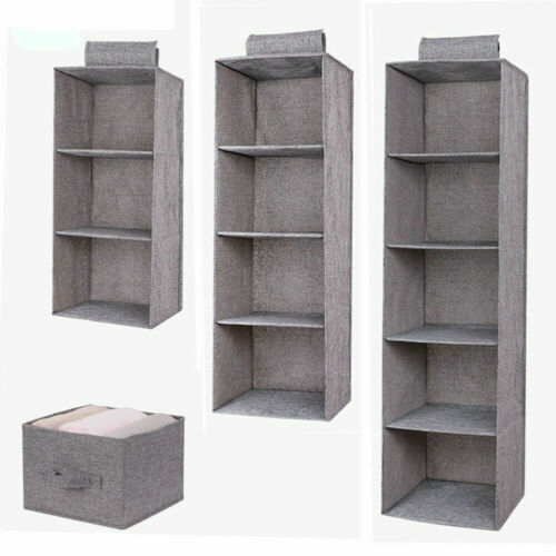 3/4/5 Tier Foldable Closet Wardrobe Hanging Storage Shelves