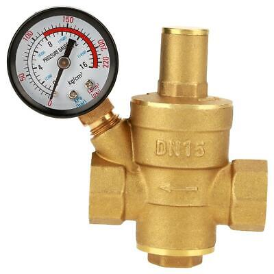 Dn15 Brass Adjustable 12 Water Pressure Regulator Reducer With Gauge Meter
