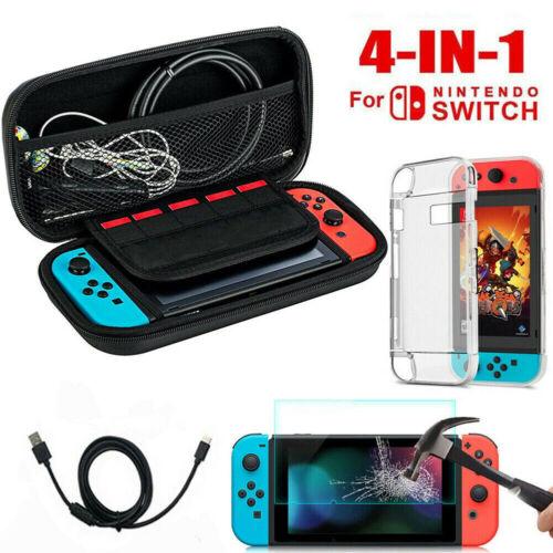 Für Nintendo Switch,Tasche Bag EVA Case+Schutzhülle+Ladekabel+Temper Glass Folie
