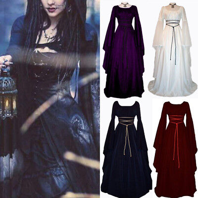 US Women Renaissance Medieval Witch Black long Costume Halloween Cosplay Dress