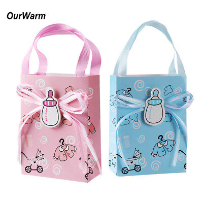 12x Mini Sweet Gift Bags Baby Shower Candy Box Boy Girl Christening Party Favor - Baby Shower Sweets