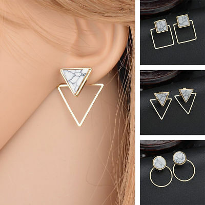 Women Fashion Gift Round Triangle Square Marble Pattern Earrings Punk Ear (Triangle Gift)