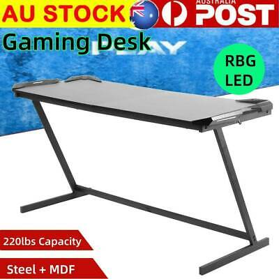 Computer Games - GAMING DESK HOME OFFICE STEEL RGB LED LIGHTS Game RACER COMPUTER PC TABLE AU